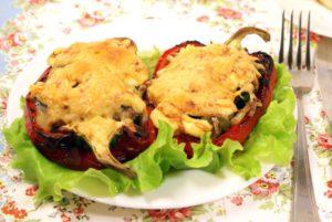 Перцы, фаршированные грибами.Фаршированный болгарский перец для похудения